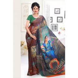 f503b7236e Georgette Orange And Navy Blue Color Embroidered Designer Saree, Rs ...