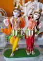 White Painted Marble Radha Krishna Dancing Statue, For Worship