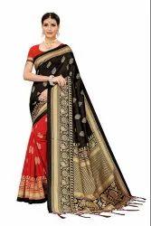 Banarasi Art Silk Party Wear Navy Black Saree Blouse Piece