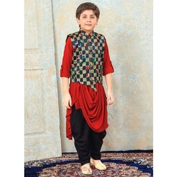 Binnani Party Wear Kids Rayon Kurta Pajama with Jacket