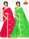 Dyed Chiffon Embroidery work Saree with Lace