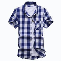 Blue, White Cotton Kids Check Shirt
