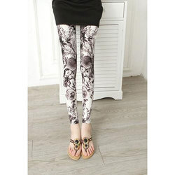 Multicolor Straight Fit Ink Painting Printed Leggings, Size: Large