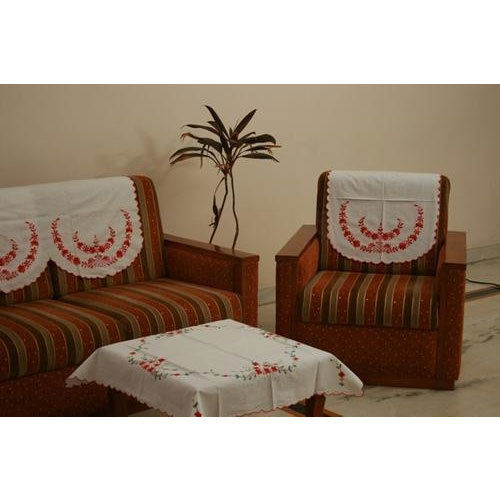 Cotton White Embroidered Sofa Back Cover