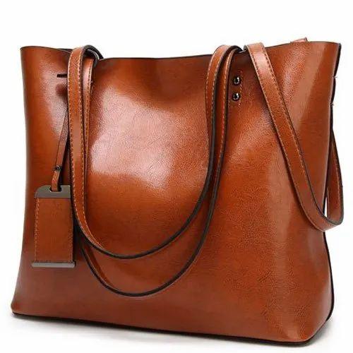 Plain Brown Ladies Fashion Handbag, Packaging Type: Packet