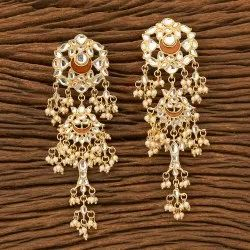 Ramagreen Indo Western Long Earring with Gold Plating 100196