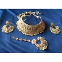Party Wear Gold Plated Necklace Set, Packaging Type: Box