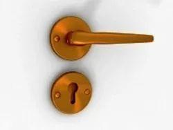 Glass Doors Handle Lock, Bronze, Antique