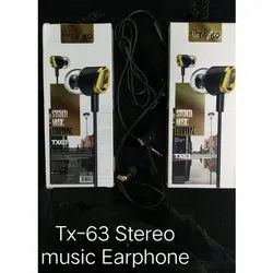 Black Mobile Tx 63 Stereo Music Earphone