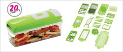 20 in 1 Fruit and Vegetable Graters, Slicer, Chipser, Dicer, Cutter Chopper (Green)