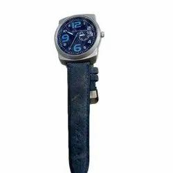 Men Round Leather Wrist Watches