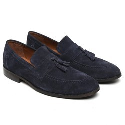 Suede And Leather Navy Blue Tassel Slip On Shoes