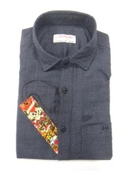 Punit Polyfab Cotton Gray Mens Shirts, Packaging Type: Packet, Machine,Hand Wash