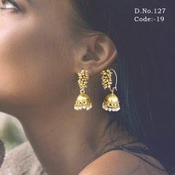Traditional Antique Hook Style Pearl Jhumki Earrings