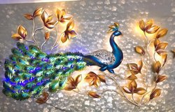 Blue Metal Peacock Wall Decor, Size: 6x4.5 Feet