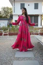 Ladies Printed Pink Long Gown