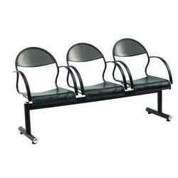 With Armrest Black Iron Visitor Chair, Seating Capacity: 3 Person