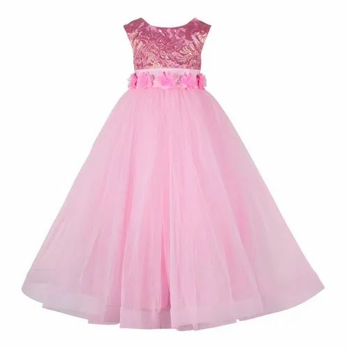Satin and Cotton Party Wear Pink Cinderella Gowns, Packaging Type: Poly Packet