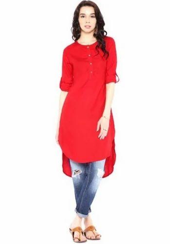 b300c5125 Ethnic Cotton Kurti Red Hi Low 15HU