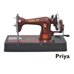 Pooja Priya Cherry Red Manual Sewing Machine for Household