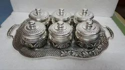 Glossy Round Silver Antique Tray With Dabbi Set