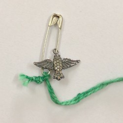Flying Bird Natural Pave Diamond Charms 925 Sterling Silver