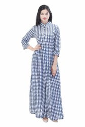 Jaipuri Printed Long Maxi Dress Block Print Gowns