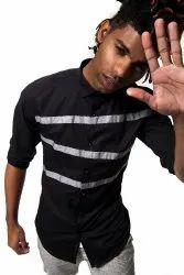 Designer Black Full Sleeve Men Casual Cotton Shirt