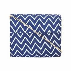 Azzra Blue Printed Fabric Wooden Clutch