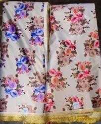Floral Metallic Satin Digital Printed Fabrics, Multicolour