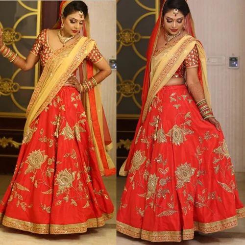 c4d2fde277 Raw Silk Wedding Wear Red Wedding Lehenga, Rs 35000 /piece | ID ...