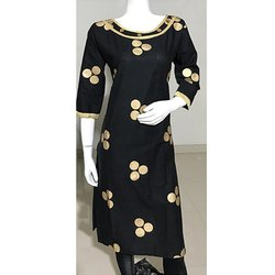 Black Gold Printed  Embroidery Kurti
