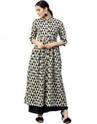 Women Off White Geometric A-Line Cotton Kantha Kurta