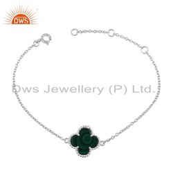 925 Fine Silver Flower Designer Womens Chain Bracelet