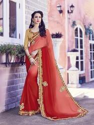 Color Shaded Moss Chiffon Saree