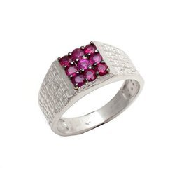 Natural Ruby Gemstones Mens Party Wear Silver Ring