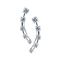 Five Stone Climber in 925 Silver Earrings