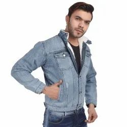 Skupar Fashionable Men Denim Jacket With Fur