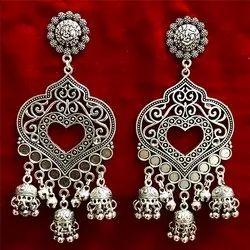 Oxidized Heart Shape Earrings
