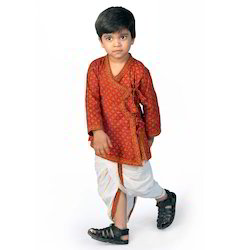 Red Cotton Bagru Print Dhoti Angrakha Set, Age 2.5-3 year