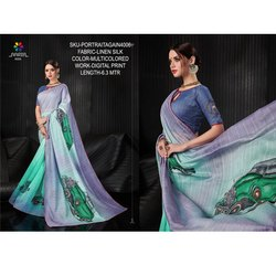 Rachna Linen Silk Digital Printed Portrait Again Catalog Saree For Women 6