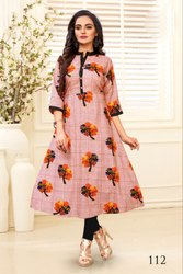 Lavish Cotton Slub Printed Party Wear Kurti