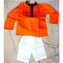Orange, White Kids Silk Kurta Pyjama