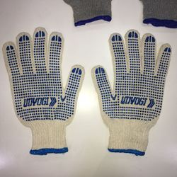 Dotted Hand Gloves White & Blue