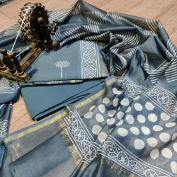 Govind Unstitched Hand Block Printed Chanderi Silk Suit, Machine wash