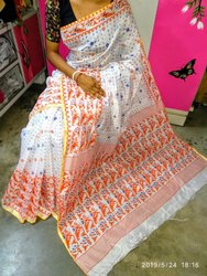Premium Quality Cotton Silk Printed Jamdani Saree With Blouse Piece