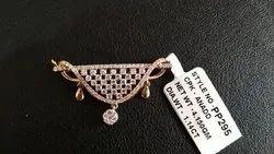 Round Pendant Real Diamond Jewellery, Weight: 4.150gm 1.14ct