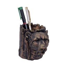FRP Pen Holder Carved Tiger 4 inch