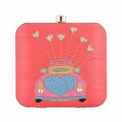 Azzra Women Cycle Design Pink Zardosi Work Clutch