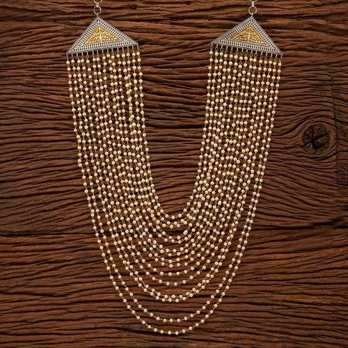 Brass Party Wear Indo Western Long Necklace with 2 Tone Plating 100132